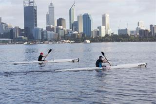Kayaking on the Swan River along South Perth Foreshore