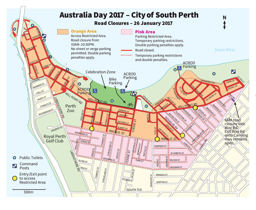 Perth In Australia Map.Australia Day 2017 Important Traffic And Parking Information For