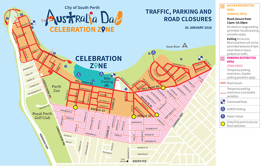 Perth In Australia Map.Australia Day 2018 Important Traffic And Parking Information For